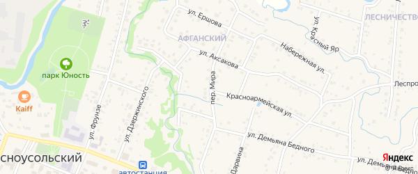 Переулок Мира на карте села Красноусольского с номерами домов
