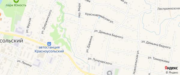 Улица Дарвина на карте села Красноусольского с номерами домов