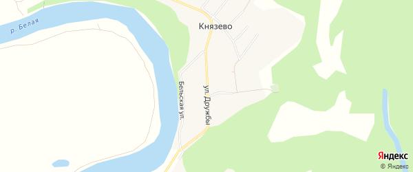 Карта деревни Князево в Башкортостане с улицами и номерами домов