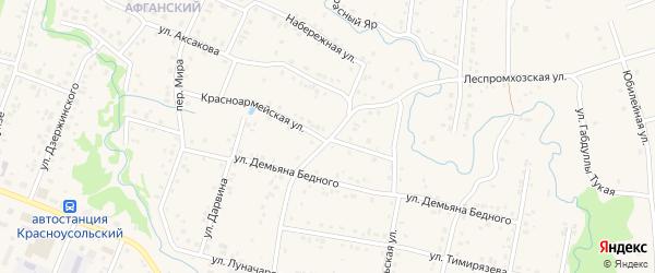 Красноармейская улица на карте села Красноусольского с номерами домов