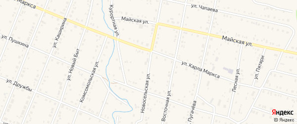 Новосельская улица на карте села Красноусольского с номерами домов
