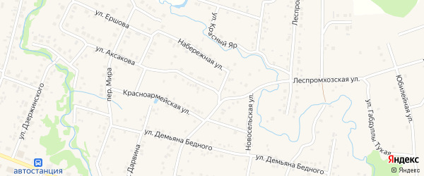 Улица Ломоносова на карте села Красноусольского с номерами домов