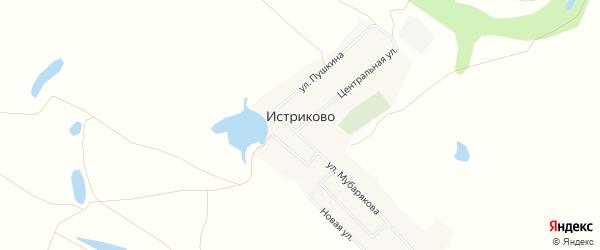 Карта деревни Истриково в Башкортостане с улицами и номерами домов