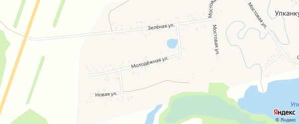 Молодежная улица на карте деревни Упканкуля с номерами домов