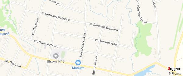 Улица Тимирязева на карте села Красноусольского с номерами домов