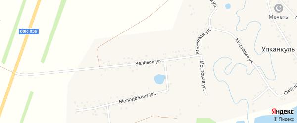 Зеленая улица на карте деревни Упканкуля с номерами домов