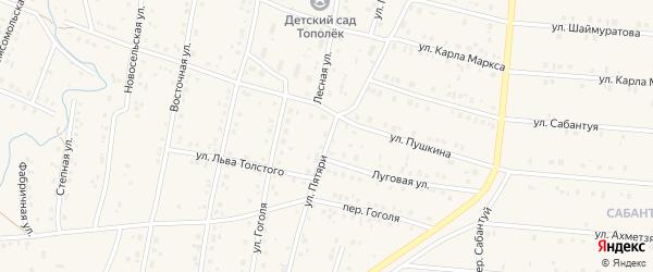 Переулок Пятяри на карте села Красноусольского с номерами домов