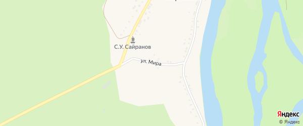 Улица Мира на карте деревни Сыртланово с номерами домов