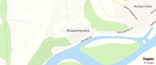Карта деревни Владимировки в Башкортостане с улицами и номерами домов