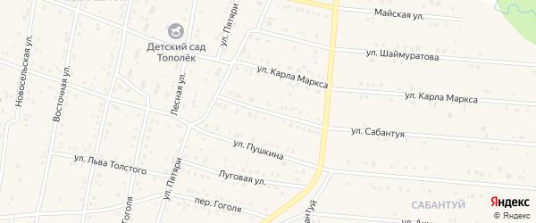 Улица Сабантуя на карте села Красноусольского с номерами домов
