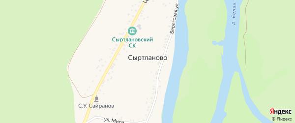 Береговая улица на карте деревни Сыртланово с номерами домов
