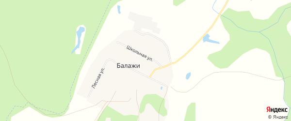 Карта деревни Балажи в Башкортостане с улицами и номерами домов