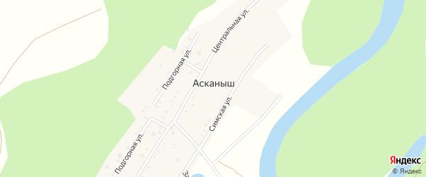 Сосновая улица на карте деревни Асканыша с номерами домов