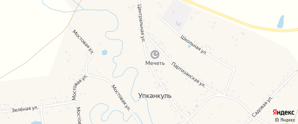Центральная улица на карте деревни Упканкуля с номерами домов