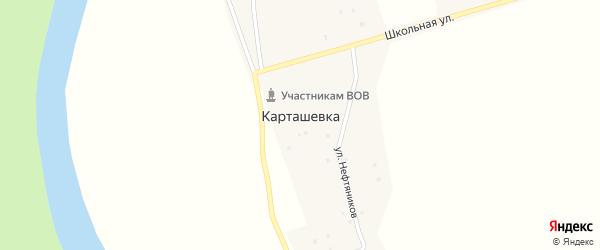 Улица Нефтяников на карте деревни Карташевки с номерами домов