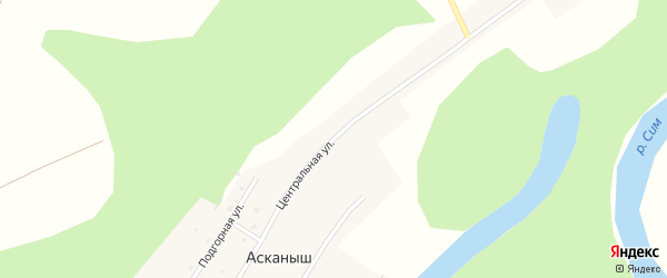 Центральная улица на карте деревни Асканыша с номерами домов