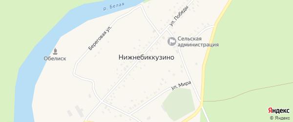 Улица Мира на карте деревни Нижнебиккузино с номерами домов