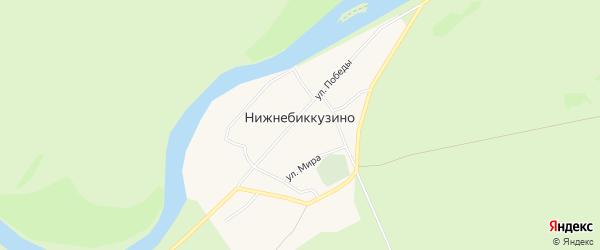 Карта деревни Нижнебиккузино в Башкортостане с улицами и номерами домов
