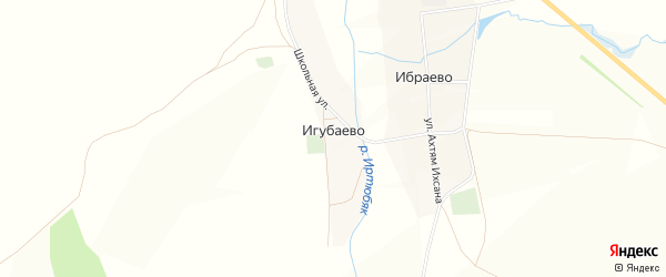Карта деревни Игубаево в Башкортостане с улицами и номерами домов