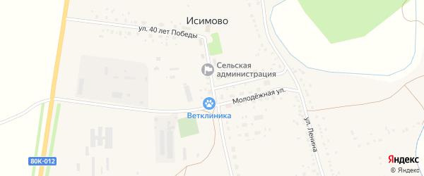 Улица 40 лет Победы на карте села Исимово с номерами домов