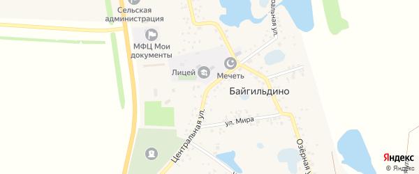 Центральная улица на карте села Байгильдино с номерами домов