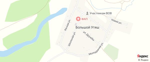 Школьная улица на карте деревни Большого Утяша с номерами домов