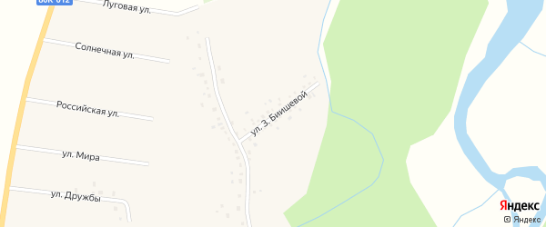 Улица З.Биишевой на карте села Исимово с номерами домов