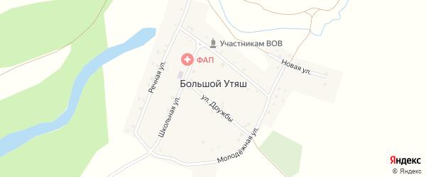 Центральная улица на карте деревни Большого Утяша с номерами домов