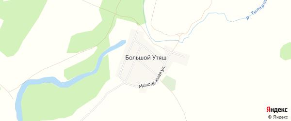 Карта деревни Большого Утяша в Башкортостане с улицами и номерами домов