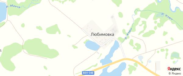 Луговая улица на карте деревни Любимовки с номерами домов
