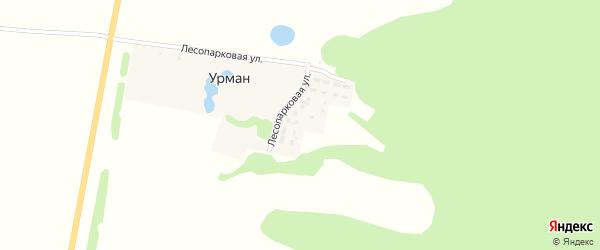 Лесопарковая улица на карте деревни Урмана с номерами домов