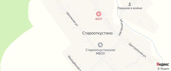 Школьная улица на карте деревни Старооткустино с номерами домов