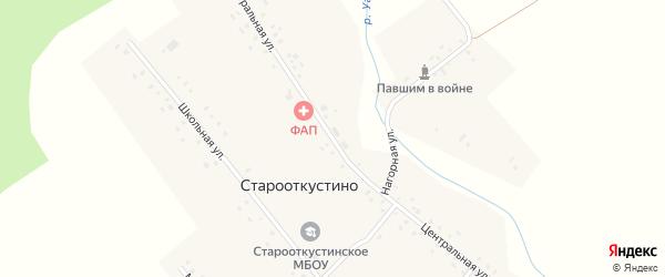 Центральная улица на карте деревни Старооткустино с номерами домов