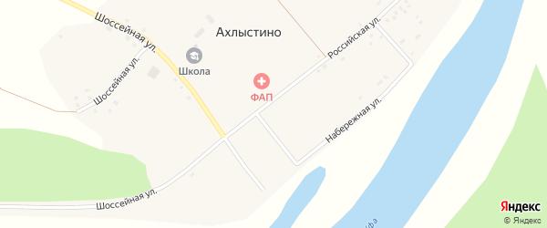 Шоссейная улица на карте села Ахлыстино с номерами домов