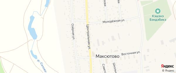 Центральная улица на карте села Максютово с номерами домов