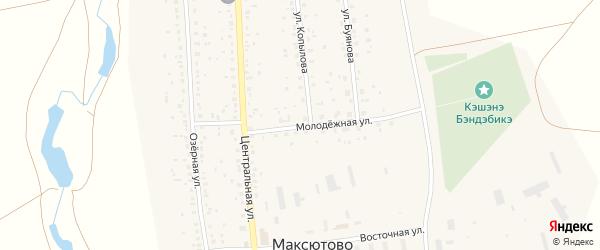 Молодежная улица на карте села Максютово с номерами домов