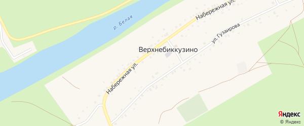 Улица Гузаирова на карте деревни Верхнебиккузино с номерами домов