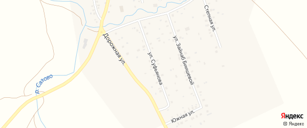 Улица Суфьянова на карте села Максютово с номерами домов