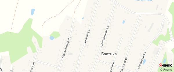 Зеленая улица на карте деревни Ашинского с номерами домов
