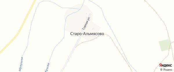 Горная улица на карте деревни Старо-Альмясово с номерами домов