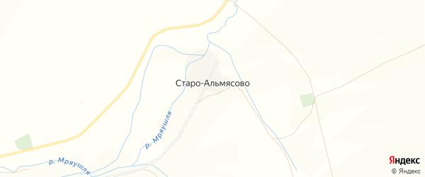 Карта деревни Старо-Альмясово в Башкортостане с улицами и номерами домов