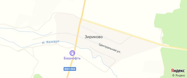 Карта деревни Зириково в Башкортостане с улицами и номерами домов