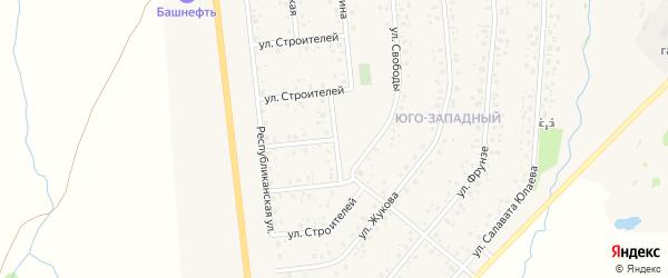 Улица Строителей на карте села Аскино с номерами домов
