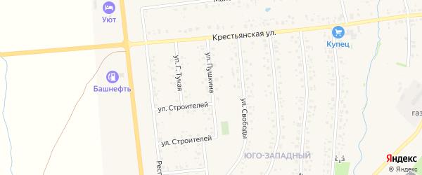 Улица Пушкина на карте села Аскино с номерами домов