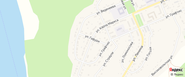 Улица Гафури на карте села Павловки с номерами домов