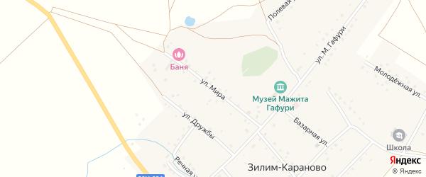Улица Мира на карте села Зилим-Караново с номерами домов