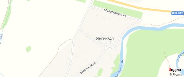 Центральная улица на карте деревни Янги-Юл с номерами домов