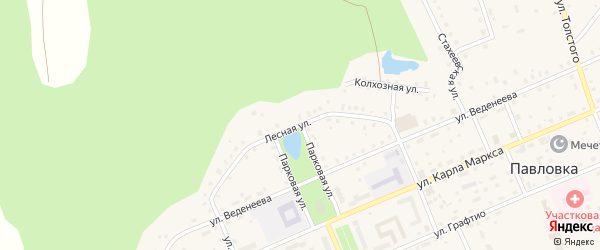 Лесная улица на карте села Павловки с номерами домов