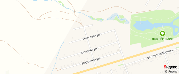 Парковая улица на карте села Аскино с номерами домов