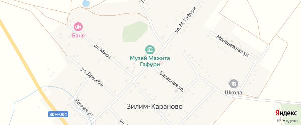 Улица Мажита Гафури на карте села Зилим-Караново с номерами домов